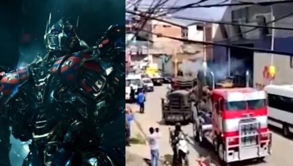 """Vehículos de la película """"Transformers, el despertar de las bestias"""" pasaron por una revisión técnica en el barrio San Pedro de Cusco. (Foto: Paramount Pictures/Canal N)."""