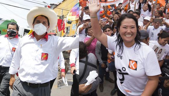 Keiko Fujimori y Pedro Castillo son los candidatos presidenciales que pasarán a segunda vuelta, según resultados de la ONPE. (Fotos: GEC)