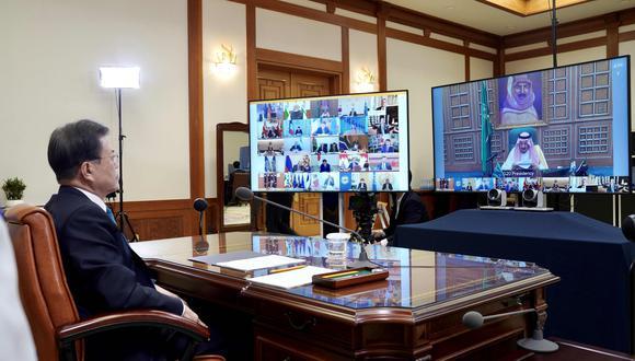 Los países del G20 sostienen una reunión virtual como medida prevención ante la propagación del COVID-19 a nivel global. (Foto: AFP)