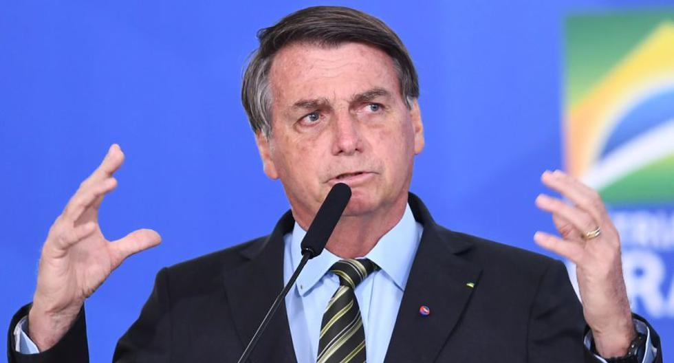 El presidente de Brasil, Jair Bolsonaro, pronuncia un discurso durante el evento en el Palacio Planalto de Brasilia, el 24 de agosto de 2020. (EVARISTO SA / AFP).