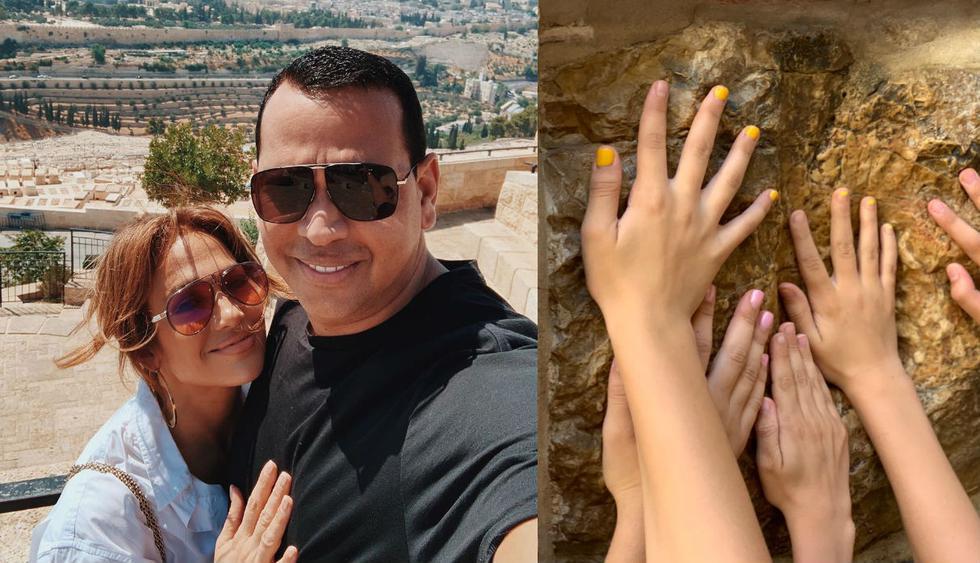 Jennifer Lopez y Alex Rodriguez rezaron en el Muro de los Lamentos en Jerusalén. (Foto:@arod)