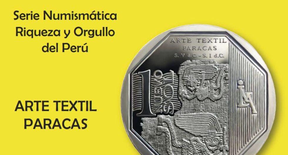 Moneda de S/.1 alusiva al arte textil Paracas. (BCR)