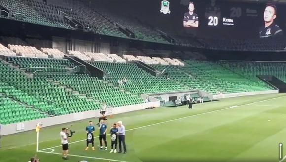 Christian Cueva fue presentado en FC Krasnodar, su nuevo club. (Twitter Katja Potapova)