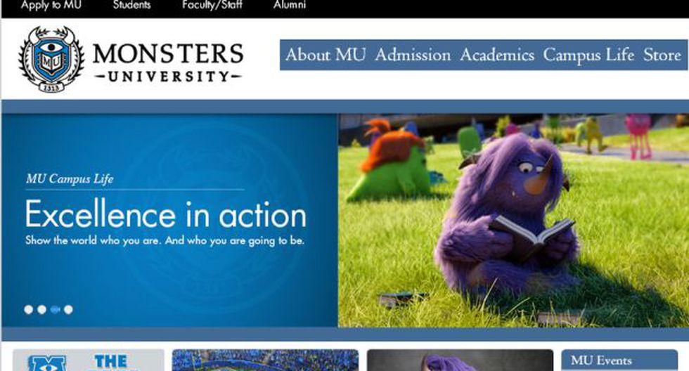 Captura: http://monstersuniversity.com/edu