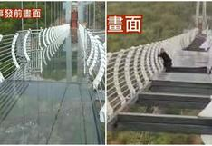 Un hombre queda atrapado a 100 metros de altura tras caída de puente de cristal