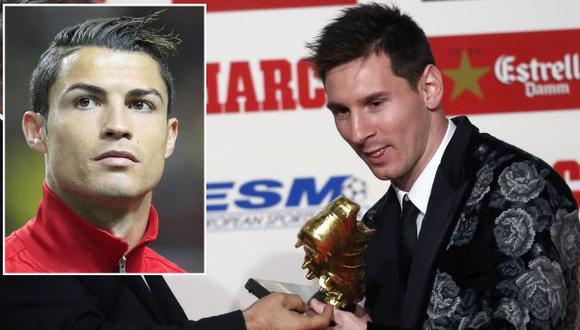 Messi elogió a Cristiano tras recibir su tercer Bota de Oro. (AP/Reuters)