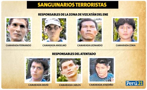 Policía identifica a tres terroristas de Sendero que ejecutaron la matanza y a otros cuatro responsables de la zona de Vizcatán del Ene.