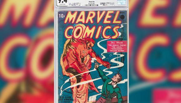 """Esta copia del N°1 de """"Marvel Comics"""", que está en muy buen estado, costaba 10 centavos en 1939. (Foto: AFP)"""