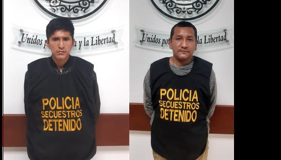 """Los detenidos Luis Rivera Leon (29) alias 'Mañuco' y Rubén Ccoillo (38) alías """"Milkito"""" son investigados en la Dirincri. (Foto: PNP)"""