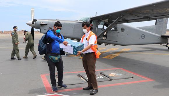 50 kits, con reactivos para analizar muestras de posibles casos de coronavirus, llegó, vía aérea, a la ciudad de Trujillo, en La Libertad.
