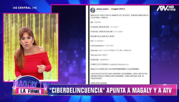 Magaly Medina tomará medidas legales tras ser víctima de ataques cibernéticos. (Foto: Captura ATV)