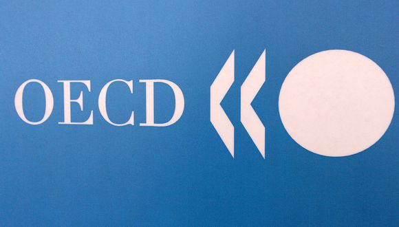OECD logo taken 23 May 2006 in Paris during a press conference.      AFP PHOTO JEAN AYISSI (Photo by JEAN AYISSI / AFP)