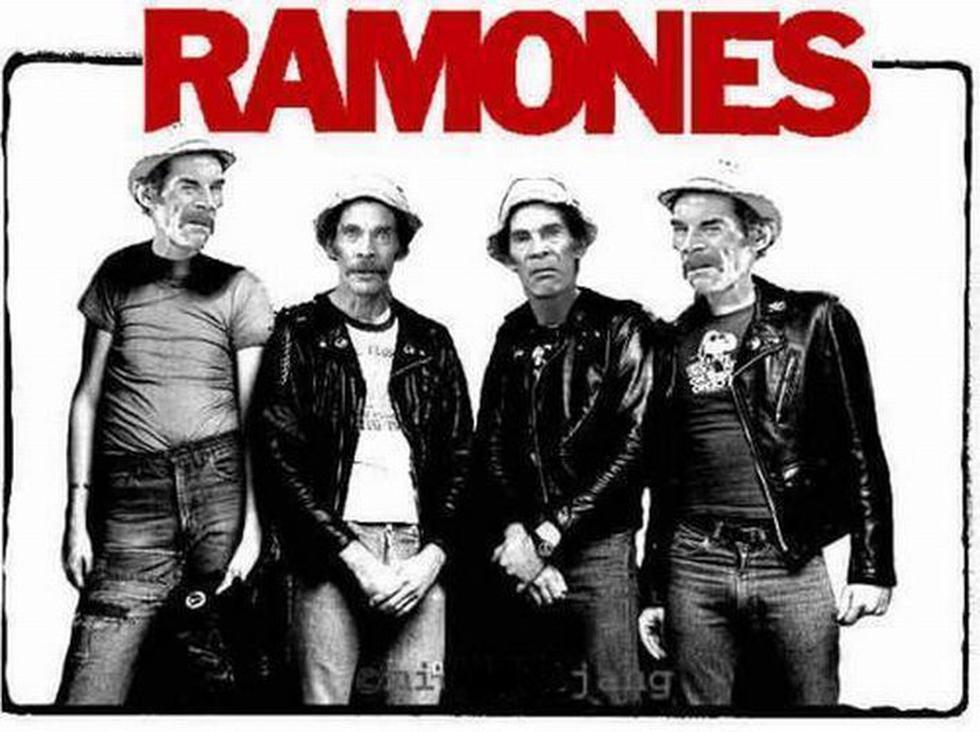 La imagen de Don Ramón en los rostros de los integrantes del grupo Ramones. (Internet)