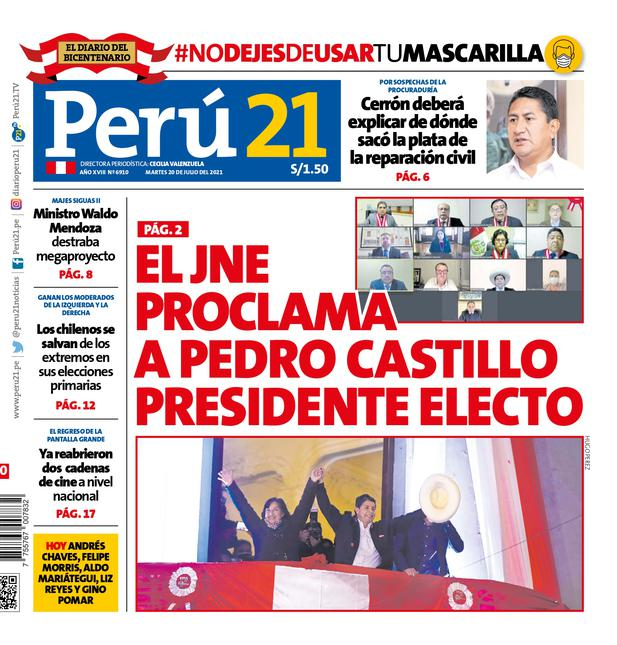 El JNE proclama a Pedro Castillo presidente electo