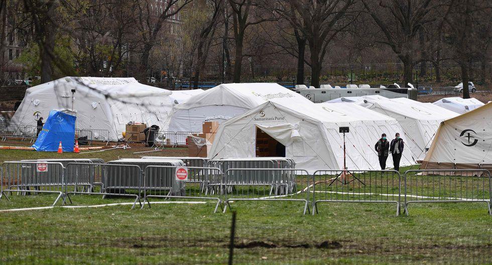 La organización Samaritans Purse estableció un hospital para pacientes de coronavirus en el Central Park en Nueva York (Estados Unidos). Foto: AFP / Angela Weiss