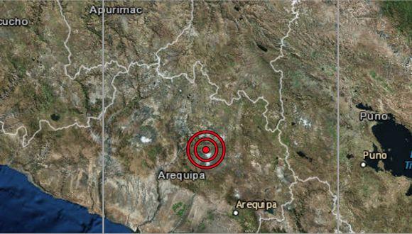 Leg: El sismo ocurrió a una profundidad de 10 km., reportó el IGP. (Captura: IGP)
