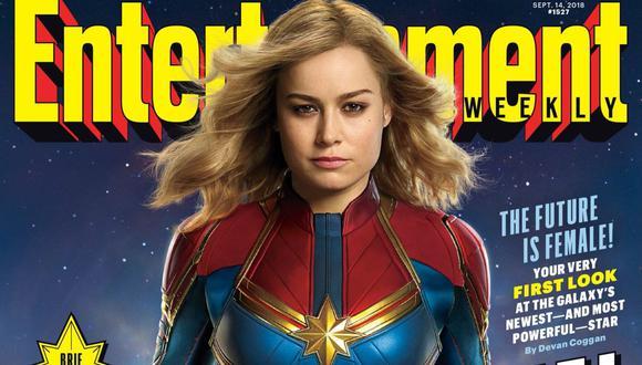 """Esta es la primera fotografía oficial de la actriz interpretando a """"Captain Marvel"""". (Foto: @EW)"""
