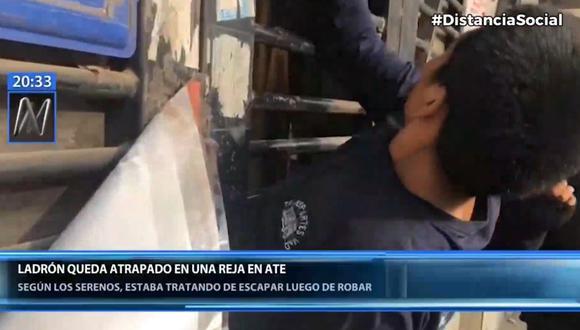 El ladrón terminó así en su intento por robar en una bodega en Ate. (Foto: Captura Canal N)