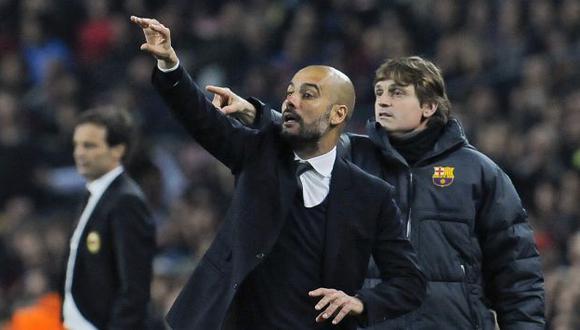 Guardiola y Vilanova fueron compañeros en el comando técnico del Barcelona. (AP)