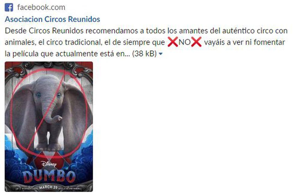 Asociación de circos con animales pide que no vayan a ver 'Dumbo' y genera el efecto contrario. (Captura)