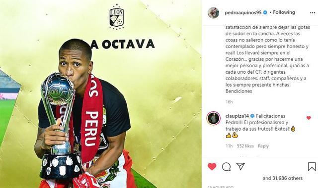 Félicitations de Claudio Pizarro à Pedro Aquino.