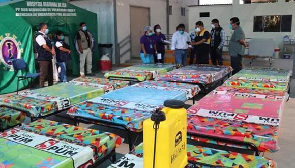 Ica: Empresarios agroexportadores donaron camas, colchones, balones de oxígeno, equipos médicos y de bioseguridad al Hospital Regional de Ica. (Foto Gore Ica)