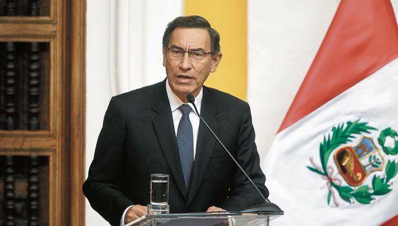 postura. El presidente Vizcarra resaltó que, pese a la crisis que enfrenta el país, se puede hallar una solución dentro de los cauces legales. (Mario Zapata)