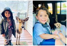 Niño de 4 años sale a jugar fuera y regresa a casa con un pequeño venado