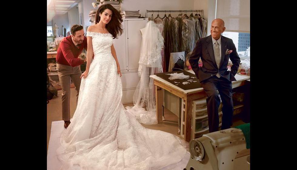 El último gran encargo de Óscar de la Renta: El vestido de novia de Amal Alamuddin, esposa de George Clooney. (Cortesía: Annie Leibovitz/Vogue)