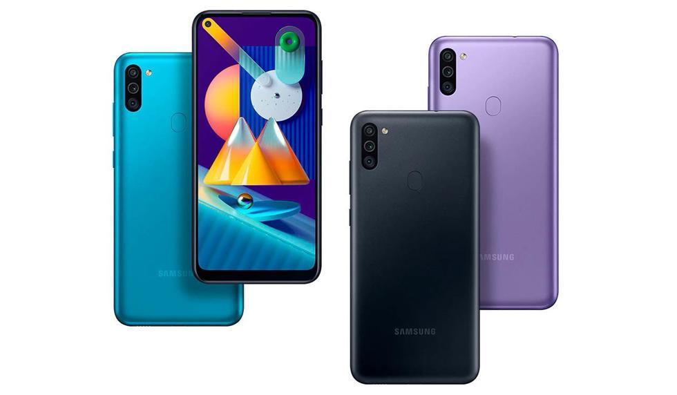 """Otro producto a menos de 300 dólares es el <a href=""""https://peru21.pe/noticias/samsung""""><font color=""""blue"""">Samsung Galaxy M11</font></a>. Su costo es de 3183 en <a href=""""https://www.amazon.com.mx/SAMSUNG-Galaxy-Pantalla-resoluci%C3%B3n-Pixeles/dp/B08DFLL3R8?ref_=Oct_s9_apbd_obs_hd_bw_bAZbat1&pf_rd_r=TKT1388QDTRHRBJGMBYQ&pf_rd_p=a1417756-07cd-5541-8c18-cd43b6f2e81d&pf_rd_s=merchandised-search-10&pf_rd_t=BROWSE&pf_rd_i=9687460011""""><font color=""""blue"""">Amazon México</font></a> y viene con una pantalla HD+ de 6.4 pulgadas. Su procesador es Snapdragon 450 acompañado de 3GB de RAM con 32GB de espacio de almacenamiento- La cámara posterior del Galaxy M11 es triple, de 13 MP + 5 MP + 2 MP, mientras que su cámara frontal es de 8 megapixeles. Como toda la familia M, esta está implementada con 5000 mAh con soporte para carga rápida, lector de huellas posterior, y Android 10. (Foto: Samsung)"""