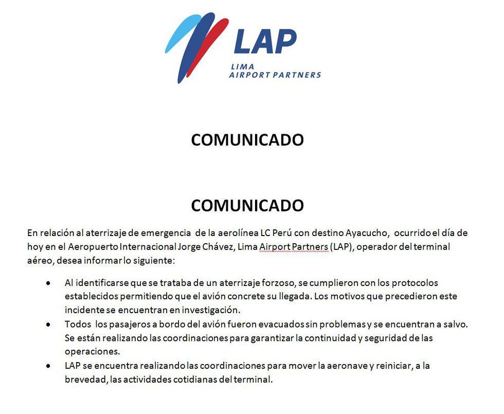 Comunicado de Lima Airport Partners (LAP)