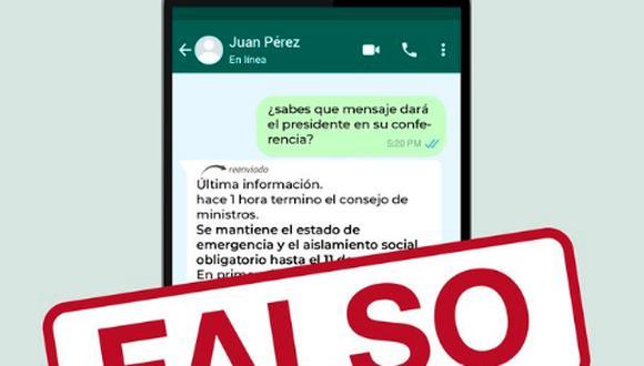 El Ejecutivo desmintió los mensajes que vienen circulando en las redes sociales sobre una posible ampliación del estado de emergencia en el país por la pandemia del coronavirus.  (Foto Twitter)