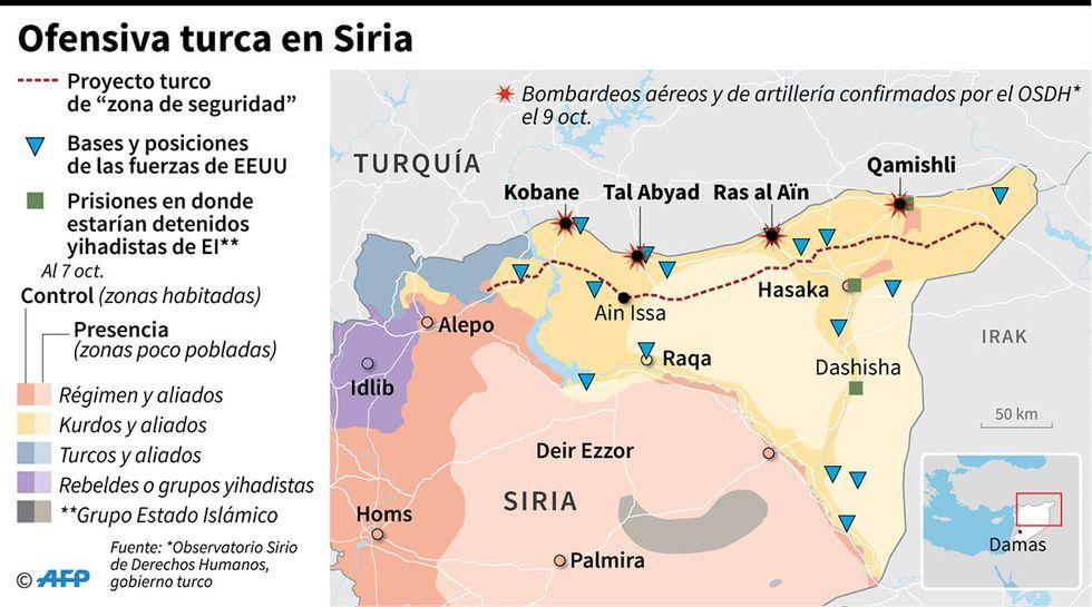 Control territorial en Siria y localización de los bombardeos aéreos y de artillería turcos. Ankara lanzó una ofensiva en el norte de Siria contra los kurdos. (Infografía: AFP)