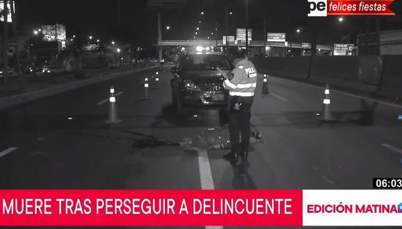 La mujer ingresó a la Panamericana Norte para atrapar a ladrón, pero fue embestida por un auto. (Captura: TV Perú Noticias)