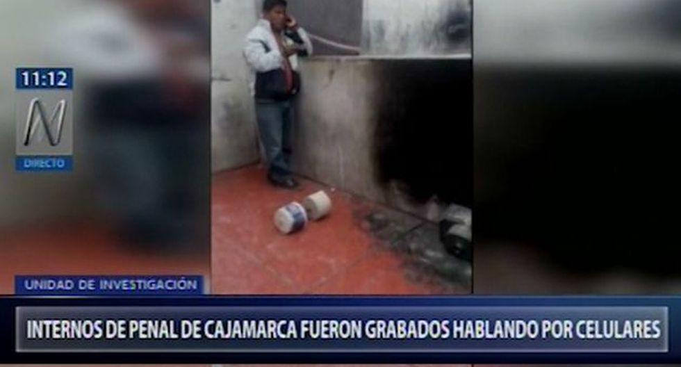 Internos del Penal de Huacariz en Cajamarca aparecen en videos conversando por celular en diversos espacios del referido centro penitenciario (Captura: Canal N)