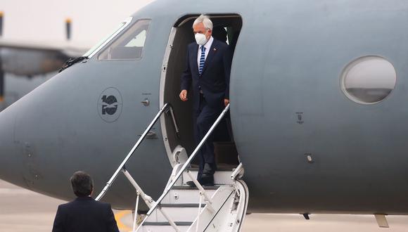 El presidente de Chile, Sebastián Piñera, llegó este martes al Perú para la toma de mando del presidente electo Pedro Castillo, que se realizará este miércoles 28 de julio en la sede del Congreso de la República. (Foto: Hugo Curotto / @photo.gec)