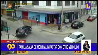 Familia se salva de morir tras choque y dar vuelta de campana en Surco