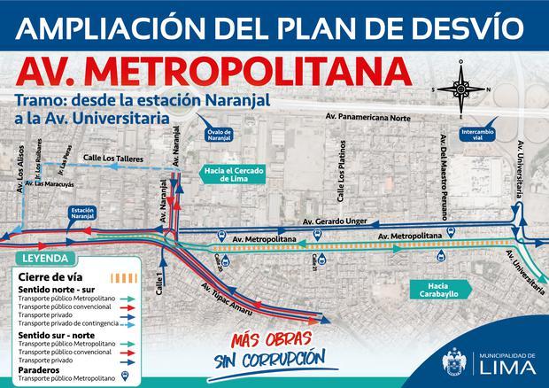 Municipalidad de Lima presentó plan de desvíos vehicular por las obras de ampliación norte del Metropolitano. (Foto: MML)
