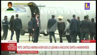 Presidente Castillo va camino a Ayacucho para juramentación simbólica