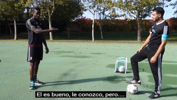 Mario Balotelli vs.  Soufiane Touzani. (Captura)
