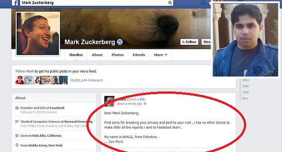 Reportó el error en la cuenta de Mark Zuckerberg. (Internet)
