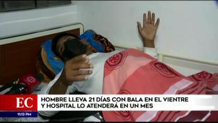Hombre lleva más de 20 días con una bala alojada en el vientre y hospital lo atenderá en un mes