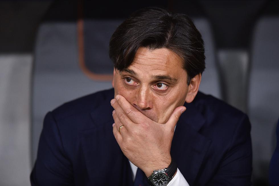 Bajo la dirección de Montella, Sevilla cayó 5-0 ante Barcelona en Madrid y perdió el título de la Copa del Rey. (GETTY IMAGES)