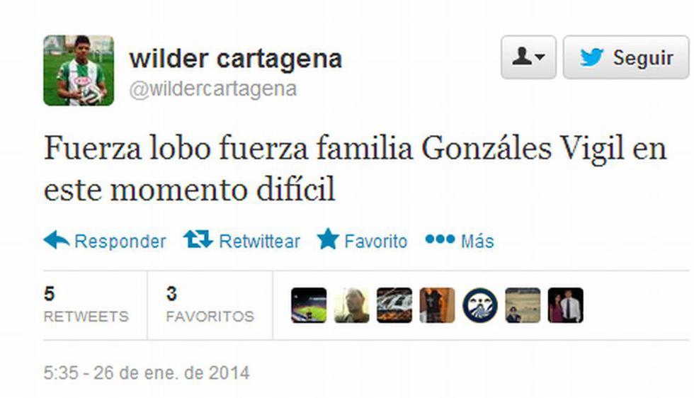 Wilder Cartagena, exjugador de Alianza Lima, le hizo llegar sus condolencias a Juan Diego Gonzales-Vigil. (Twitter)