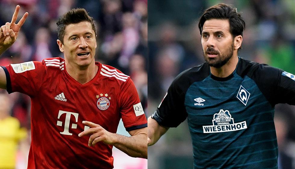 Robert Lewandoski y Claudio Pizarro: dos goleadores notables en la Bundesliga. (Fotos: EFE)