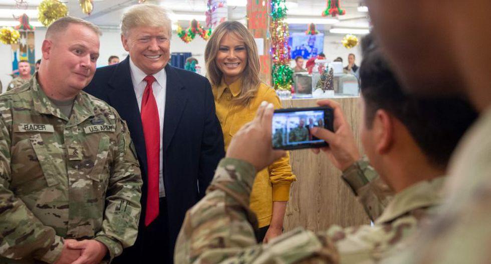 La portavoz de la Casa Blanca, Sarah Huckabee Sanders, escribió en Twitter que el mandatario estadounidense viajó para agradecerle a las tropas y al mando militar encargado de la misión en Irak. (Foto: AFP).