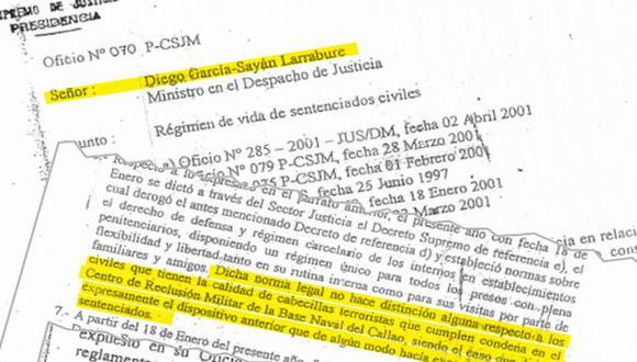 Noriega Lores advierte a García Sayán de lo peligroso del D.S. 003 porque incluía a los cabecillas presos en la Base Naval.