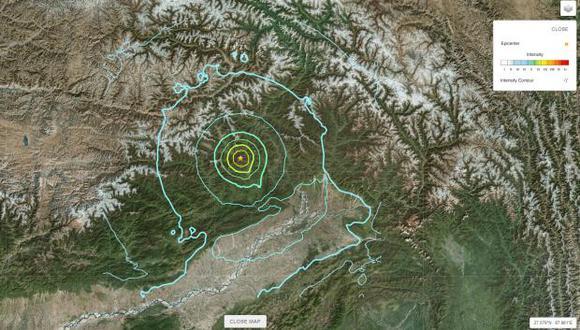 Captura del epicentro del sismo en India. (Foto: USGS)