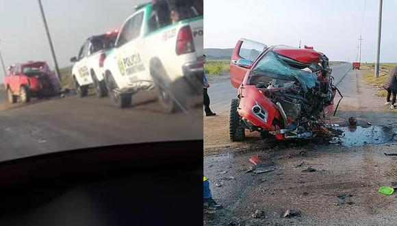 La camioneta se llevó la peor parte y su carrocería acabó destrozada (Foto: PNP)