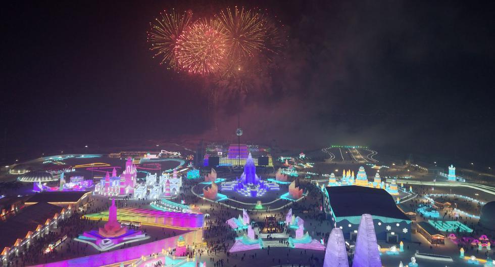 Una vista aérea del Festival de Hielo que se celebra al noreste de China. Dicha festividad nació en 1985. (Foto: AFP)